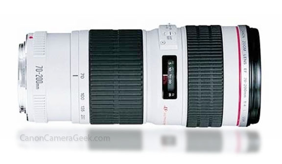 Side view of Canon 70-200 F4 IS USM Lens