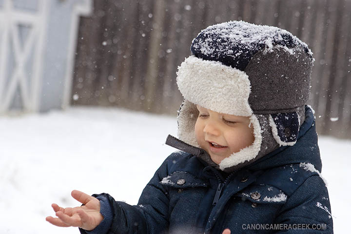 Toddler's first snowstorm