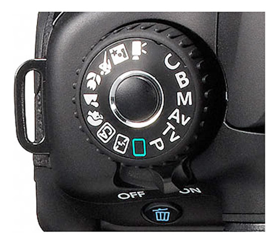 Canon 60D Body - Top View of Locking Mode Dial