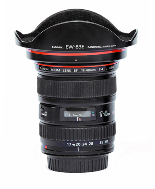 Upright View of Canon EF 17-40 F/4 Lens with Lens Shade