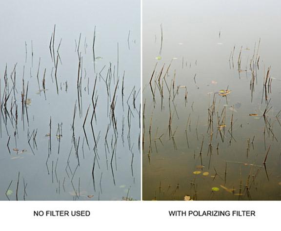 Polarizing lens filter effect