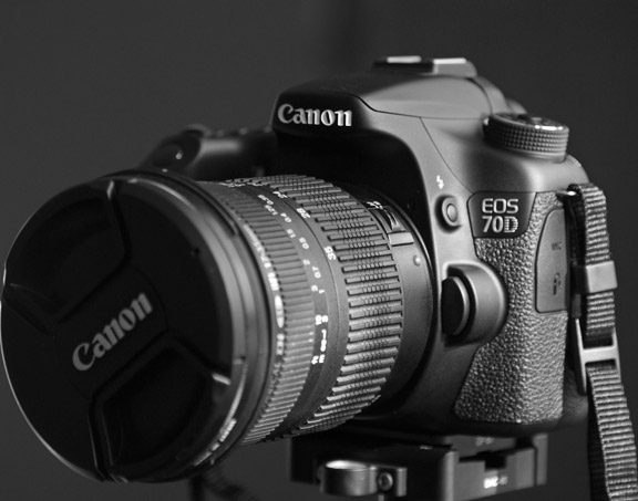 Black and white photo of 70D