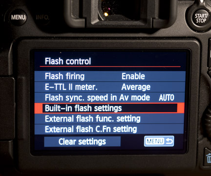 70D built-in flash settings