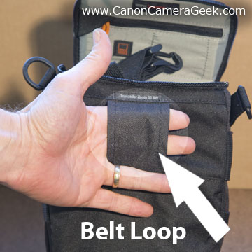 Top-loader camera bag belt loop