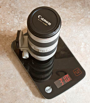 Canon 70-200mm f/2.8 on kitchen scale