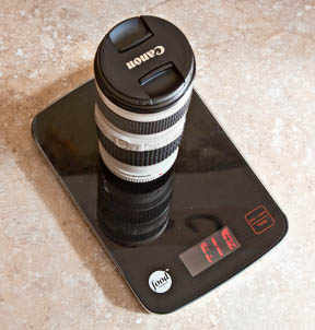 Canon 70-200mm f/4.0 on kitchen scale