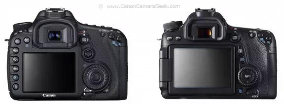 Canon 7D and Canon 70D screen comparison