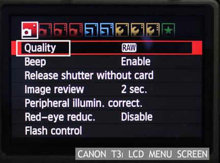 Rebel t3i LCD Menu