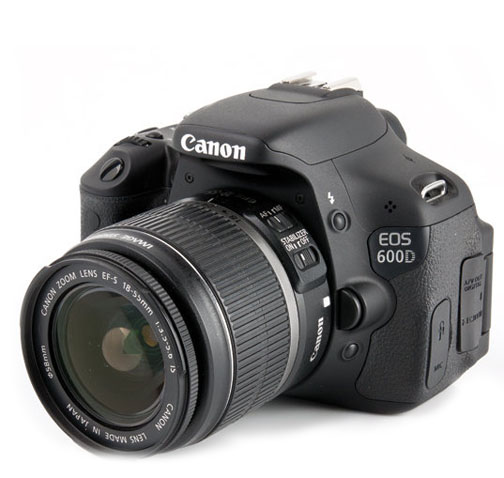 Diagonal View of Canon 60D With 18-55mm Kit Lens Attached