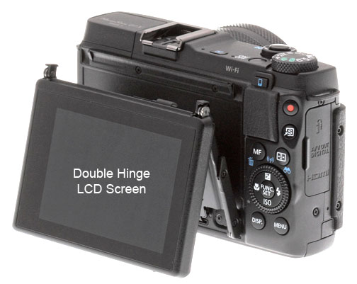 Canon Powershot G1X Mark II LCD screen has two hinges.