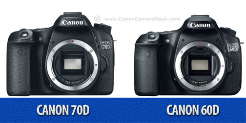 Front view comparison of Canon 60D vs 70D cameras