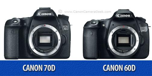 Front view comparison of Canon 60D vs 70D cameras