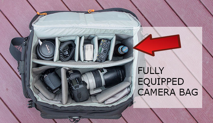 Fully equipped camera bag