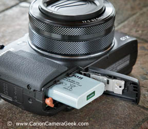 The G1x Mark II battery compartment is on the bottom of the camera