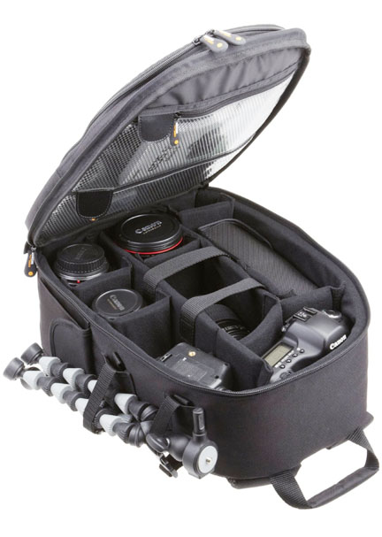 Inside the Amazon Basics DSLR Backpack