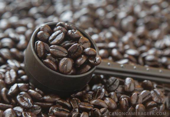 macro photo coffee sample