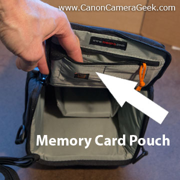 The Lowepro Toploader has a handy memory card holder under the lid