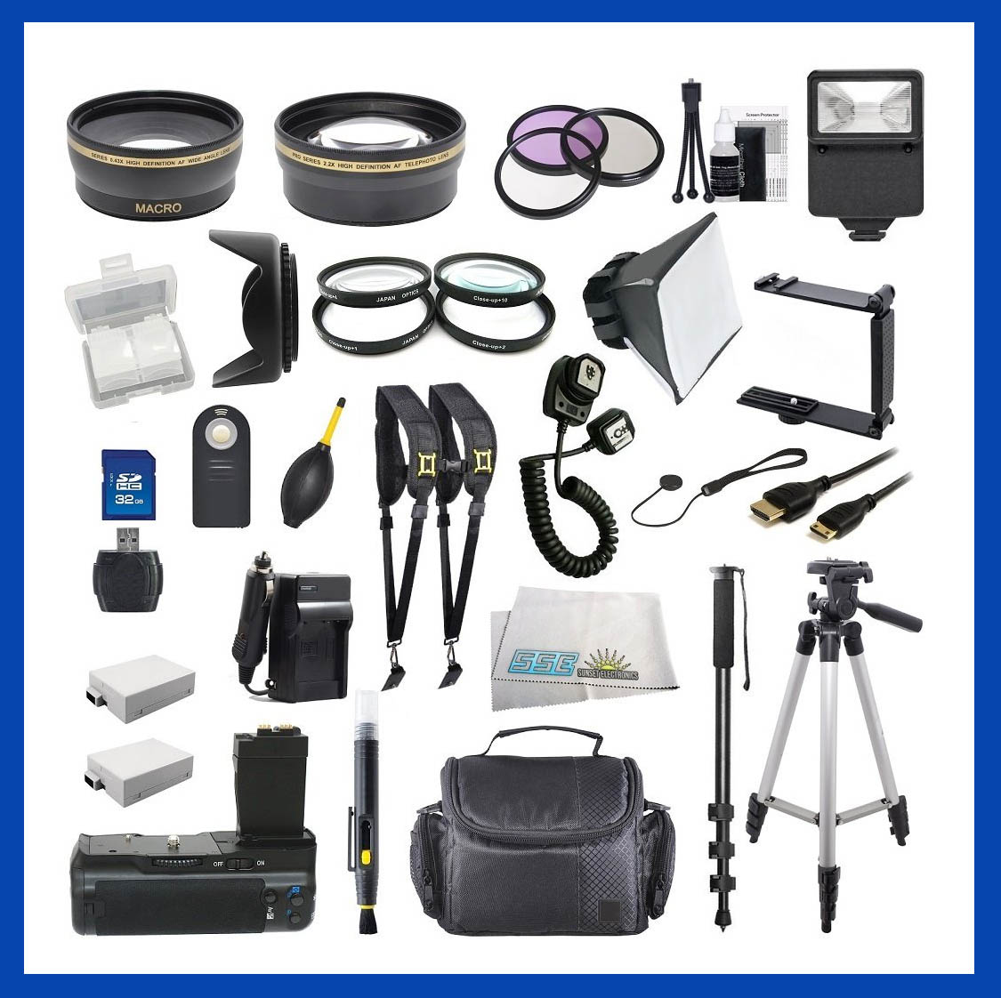Here is the most complicated Canon Rebel accessory bundle that I found