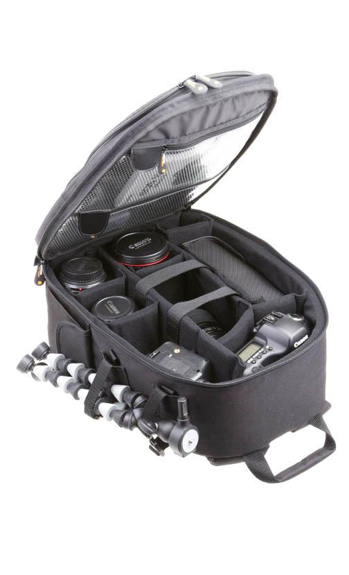 Opened DSLR Camera Backpack
