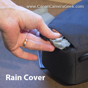 Rain cover on top loading digital camera bag