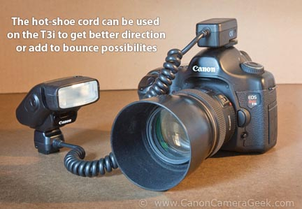 As an alternative lighting method you can attach the remote cord to the t3i hot shoe and add many lighting possibilities to your photography