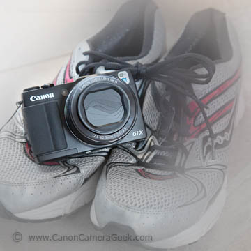Canon G1x Mark ii with running shoes