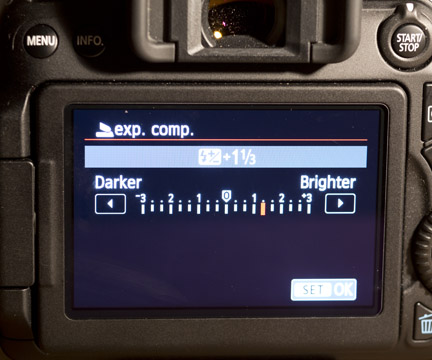 Select over or under exposure compensation