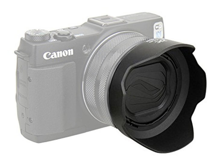 Forward facing lens hood for Canon G1X Mark II Camera