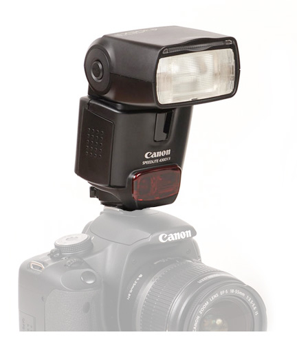 Shoe-mounted Canon 430EX-II Speedlite