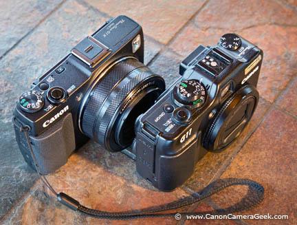 top view Canon G11 vs G1x Mark II