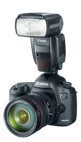 Canon 600EX-RT mounted on a Canon 5d Mark III