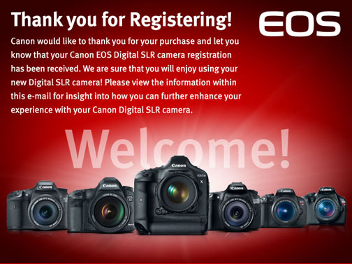 Thanks form Canon for registering the Canon EOS 70D
