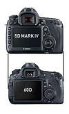 Canon 5D Mark IV vs Canon 60D Size Comparison
