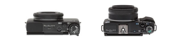 Top view comparison G7x vs g1x Mark II