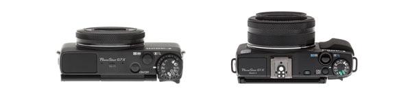Top view comparison G7x vs g1x Mark II