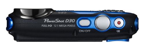 Top view of Canon Powershot D30 Waterproof Camera
