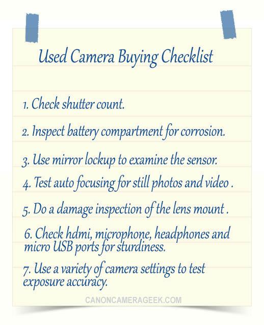 Used camera buying checklist