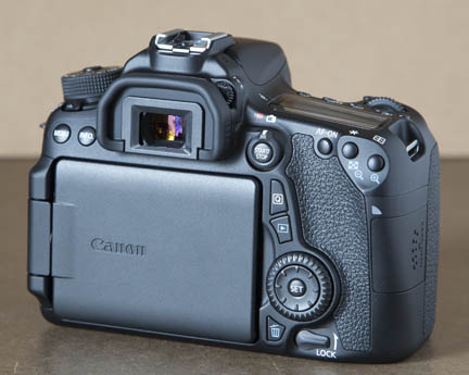Back viw of Canon 70D with LCD screen protected