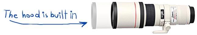 Built-in Hood for Canon 400 f/5.6 Lens