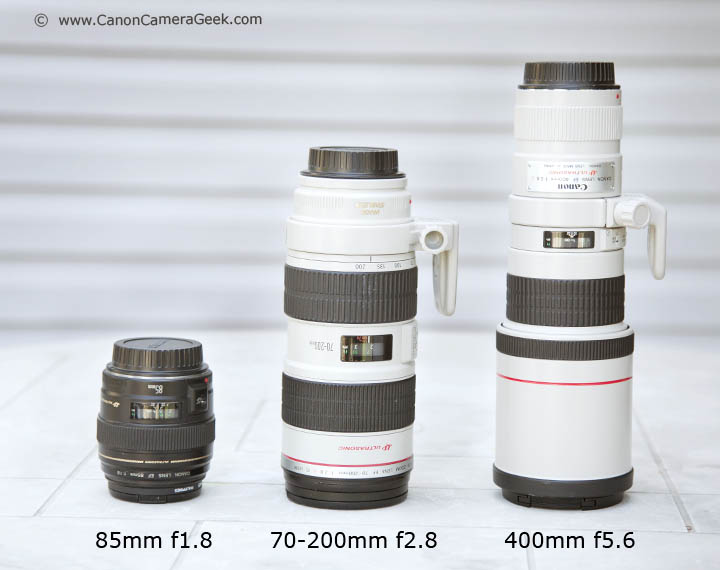 Size Comparison:  Canon 85mm f1.8,  70-200mm f2.8, and the 400mm f5.6