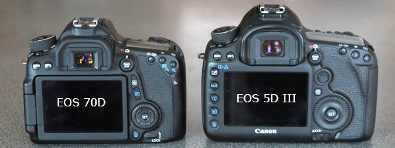 Canon EOS 70D vs 5d Mark III Size Comparison