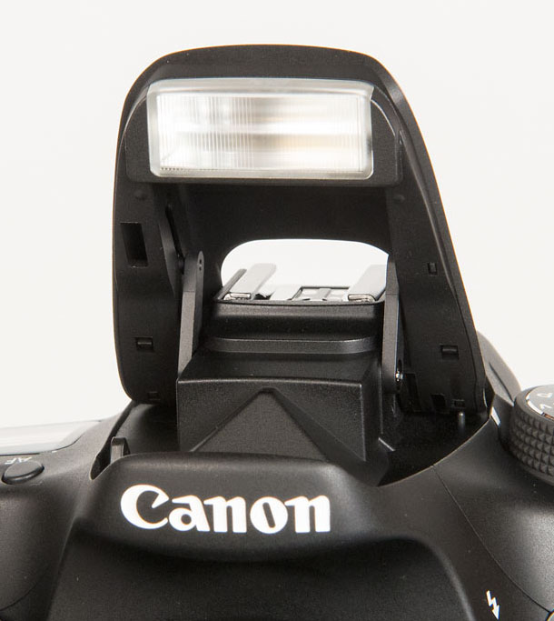 Close-up of Canon 70d pop-up flash