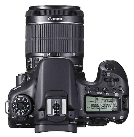 Top view of the Canon 70D camera