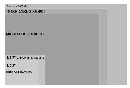 Sensor size comparison of the Canon G1X Mark II and other cameras.