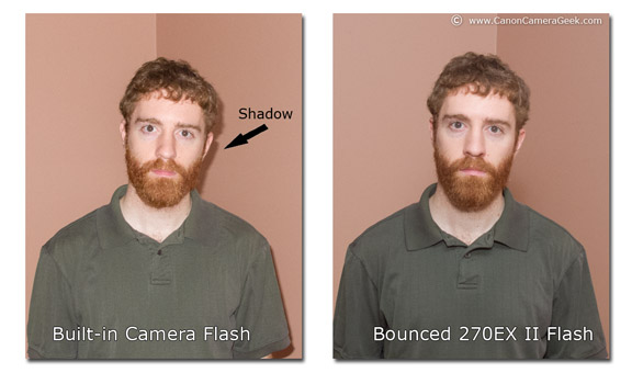 Canon Speedlite built-in bounced light comparison photos