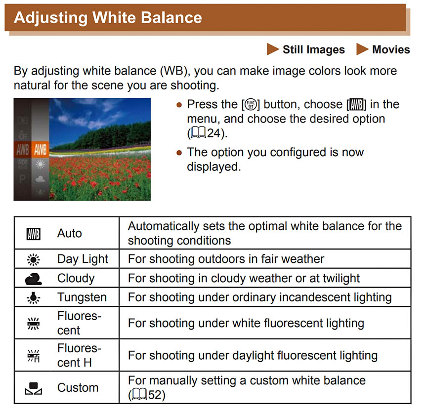 SX420 IS White balance Adjustment