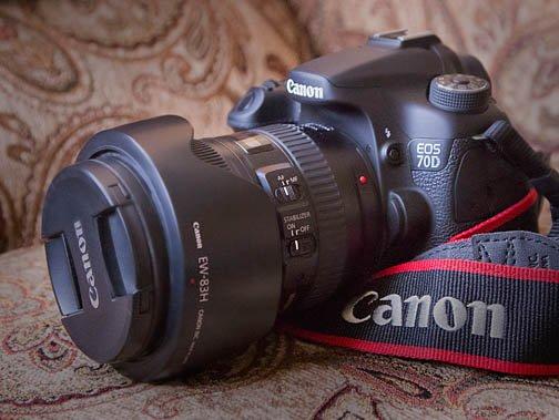 Diagonal View of Canon EOS 70D Camera