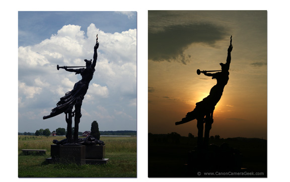 Comparison Photos of Gettysburg Monument at mid-day and at Sunrise