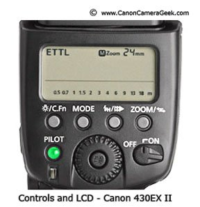 Photo of LCD screen and controls on back of Canon 430EX II Flash