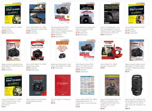Screen shot of Amazon book line-up on Rebel t3i